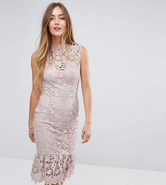 Paper Dolls Tall High Neck Lace Dress With Pephem