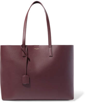 Saint Laurent Shopper Large Textured-leather Tote - Burgundy