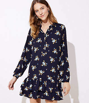 LOFT Bouquet Double Flounce Dress