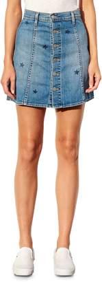 Sundry Stamped Stars Front Button Denim Skirt