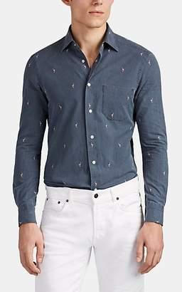 Kiton Men's Flamingo-Embroidered Cotton Shirt - Gray Pat.