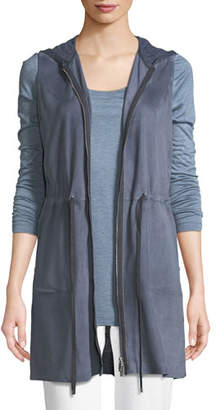 Lafayette 148 New York Salma Lush Suede Vest with Knit Back