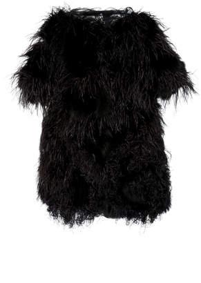 Oscar de la Renta Dyed Shadow Fox Fur With Feather Swirl Embroidery Coat