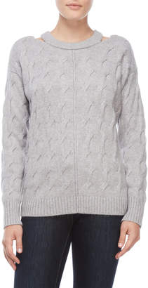 Vince Camuto Petite Cutout Cable Knit Sweater