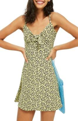 Topshop Ditsy Knot Mini Sundress