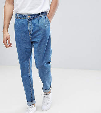 Asos TALL Double Pleat Straight Leg Jean In Light Blue