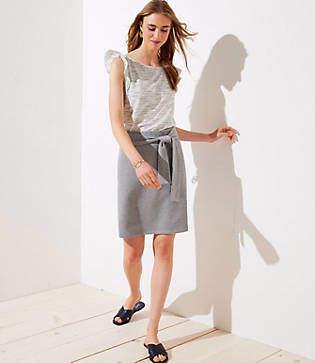 LOFT Tie Waist Knit Pencil Skirt