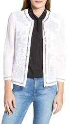 Ming Wang Pointelle Knit Jacket
