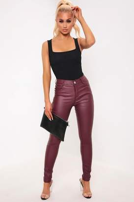 I SAW IT FIRST Burgundy Mid Rise Coated Jeans