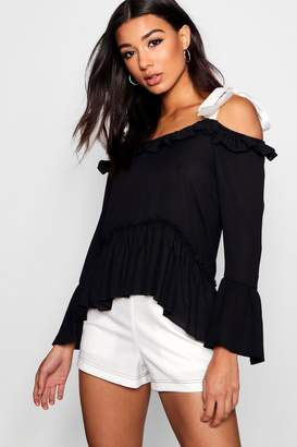 boohoo Cold Shoulder Ruffle Tie Blouse