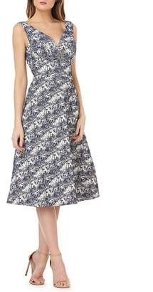 Kay Unger Sleeveless Jacquard A-Line Tea Length Dress
