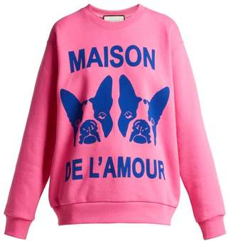 Gucci Bosco And Orso Printed Cotton Jersey Sweatshirt - Womens - Pink