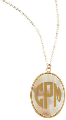 Moon and Lola Extra Large Oval Acrylic Block Monogram Pendant Necklace