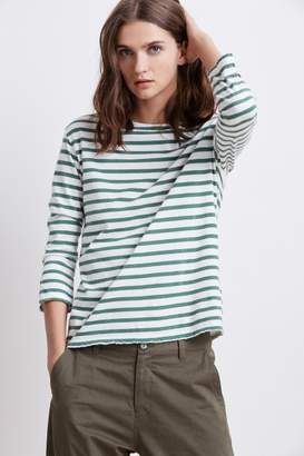 Velvet by Graham & Spencer CAMBER STRIPE KNIT DISTRESSED BOAT NECK TEE