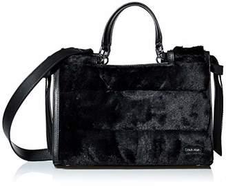 Calvin Klein womens Callie Grooved Fur Knotted Medium Satchel