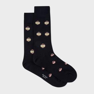Men's Navy Polka Dot Stripe Socks $30 thestylecure.com