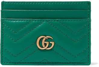 Gucci Gg Marmont Quilted Leather Cardholder - Green