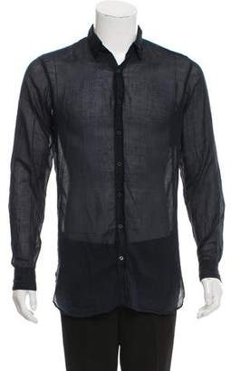 Dries Van Noten Sheer Woven Button-Up