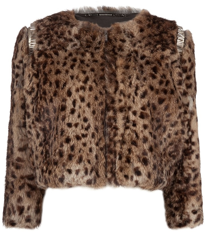 Matthew Williamson Printed rabbit fur coat