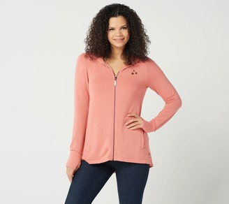 Peace Love World Zip-Front Hi-Low Hooded Cardigan