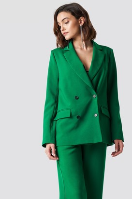 Na Kd Trend Double Breasted Oversized Blazer Green