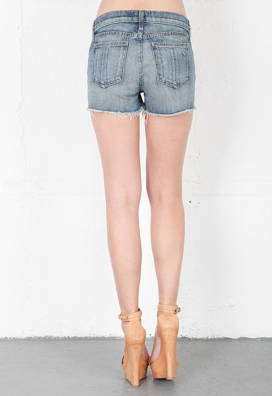 Rag and Bone The Cut Off Short in Moss with Holes
