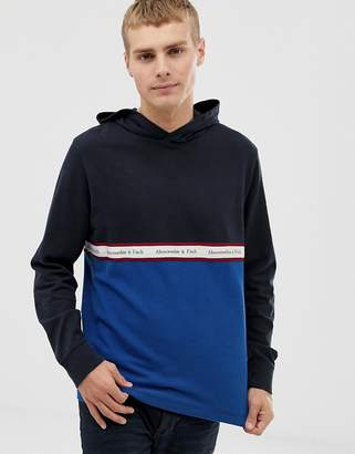 Abercrombie & Fitch color block chest logo tape sweatshirt in navy/blue