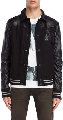 Armani Jeans Black Wool Varsity Jacket