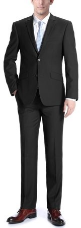 Verno Adessi Big Men's Black Slim Fit Italian Styled Two Piece Suit