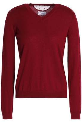 RED Valentino Point D'esprit-trimmed Cashmere And Silk-blend Sweater