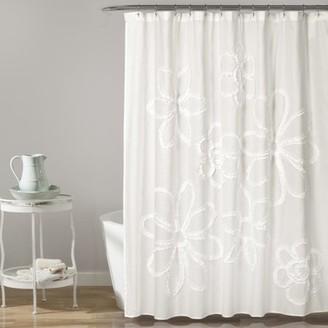Lush Decor Ruffle Flower Shower Curtain White 72x72