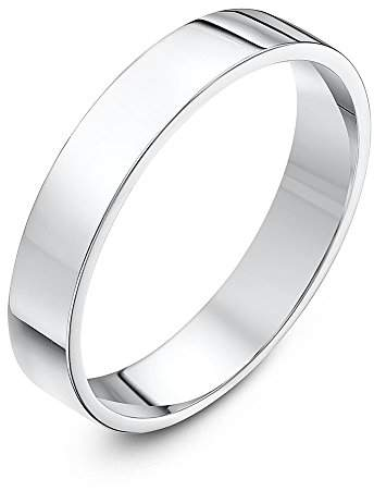 Theia Unisex Super Heavy Flat Court Shape Polished 18 ct White Gold 4 mm Wedding Ring - Size H