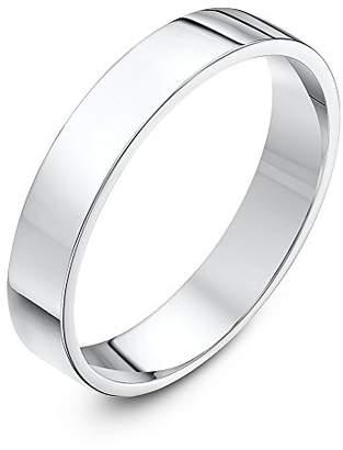 Theia Unisex Super Heavy Flat Court Shape Polished 18 ct White Gold 4 mm Wedding Ring - Size V