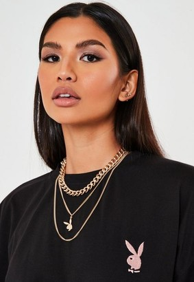 Missguided Playboy x Gold Multi Chain Necklace