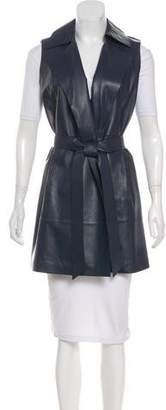 Lafayette 148 Leather Belted Vest w/ Tags