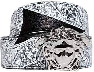 Versace Reversible Baroque Printed Leather Belt