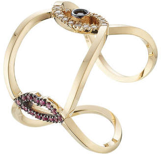 Delfina Delettrez 18kt Gold Ring with Rubies, Diamonds and Sapphire