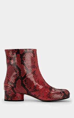 Maison Margiela Women's Tabi Snakeskin-Stamped Leather Ankle Boots - Red