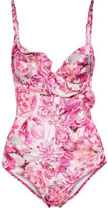 La Perla Open-Back Ruffle-Trimmed Floral-Print Underwired Swimsuit