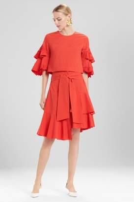Josie Natori Cotton Poplin Tiered Sleeve Top With Embroidery