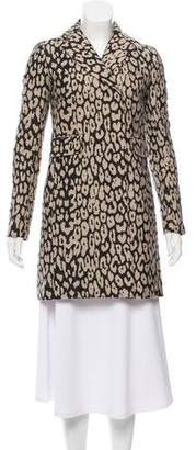 Gryphon Leopard Notch-Lapel Coat