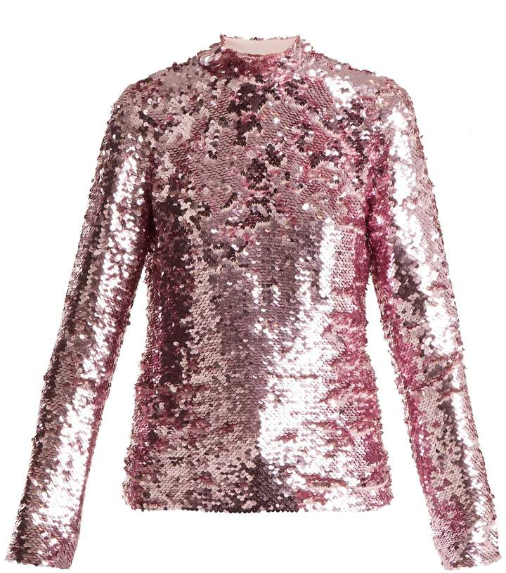 MSGM High-neck sequinned top