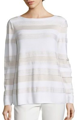 Lafayette 148 New York Sequin Striped Sweater $548 thestylecure.com