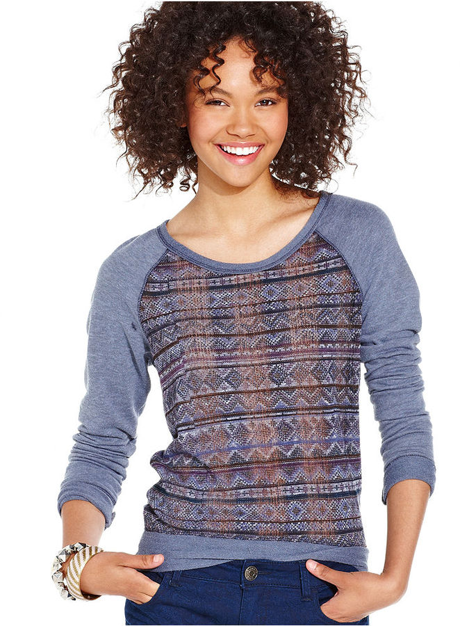 Dolled Up Juniors Top, Long Raglan Sleeve Knit Cutout