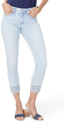 NYDJ Ami Embroidered Border Ankle Skinny Jeans