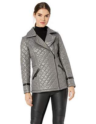 Via Spiga Women's Light-Weight Asymetrical Zip Quilted Jacket