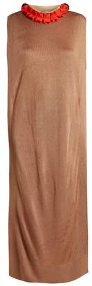 Toga Ruffled Trim Fine Knit Dress - Womens - Camel