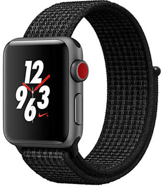 Apple Watch Nike+, GPS and Cellular, 38mm Space Grey Aluminium Case with Nike Sport Loop, Pure Platinum / Black