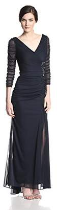 Adrianna Papell Women's 3/4 Sleeve Evening Gown with V-Neckline and Rouched Bodice,8