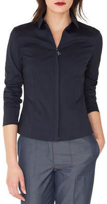 Akris Long-Sleeve Zip-Front Stretch Cotton-Poplin Shirt